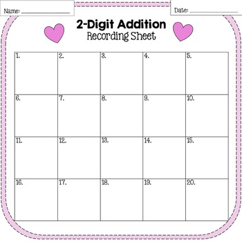 Valentine's Day 2-Digit Addition With and Without Regrouping Task Cards