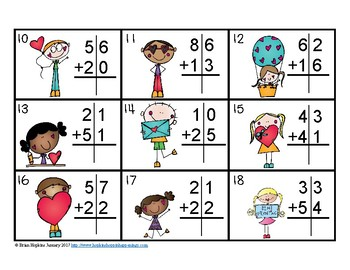 Valentine's Day 2 Digit Addition Without Regrouping Task Cards
