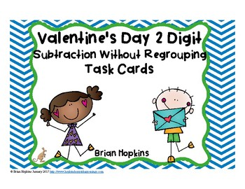 Valentine's Day 2 Digit Subtraction Without Regrouping Task Cards