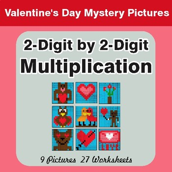 Valentine's Day: 2-Digit Multiplication - Color-By-Number Math Mystery Pictures
