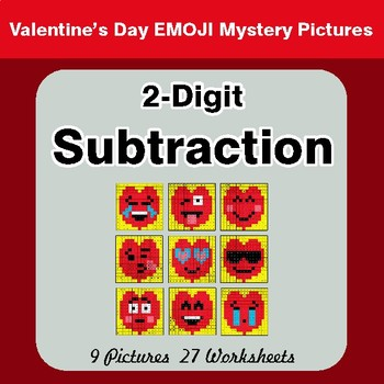 2-Digit Subtraction - Color-By-Number Valentine's Math Mystery Pictures
