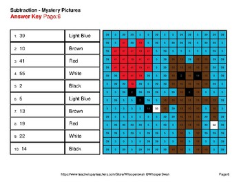 Valentine's Day: 2-Digit Subtraction - Color-By-Number Mystery Pictures