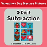 Valentine's Day: 2-Digit Subtraction - Color-By-Number Mys