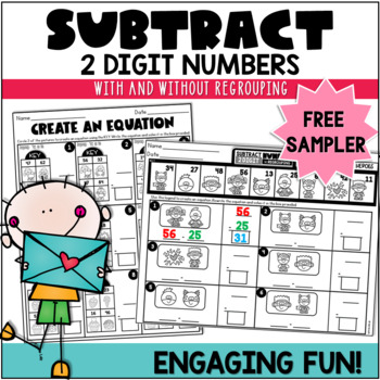 Valentine's Day 2 Digit Subtraction with and without Regrouping Free