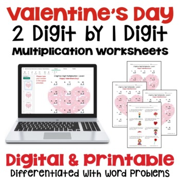 Valentine's Day: 2 Digit by 1 Digit Multiplication (3 Leve