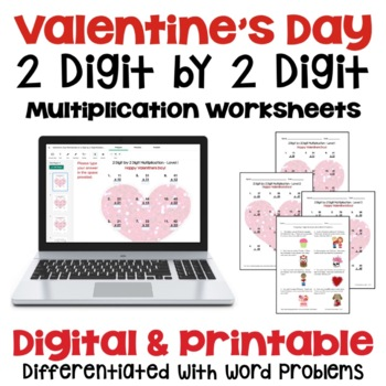 Valentine's Day: 2 Digit by 2 Digit Multiplication (3 Levels PLUS word problems)