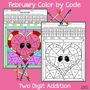 Valentine's Day 2 digit Addition Color by Code