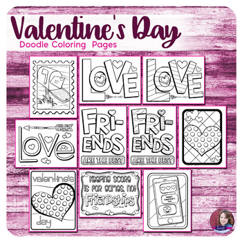 Valentine's Day Doodle Coloring Pages (2018)