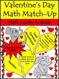 Valentine's Day Game Activities: Valentine's Day Math Vocabulary Match-Up - BW