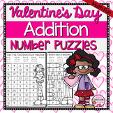 Valentine's Day Addition Math Puzzles