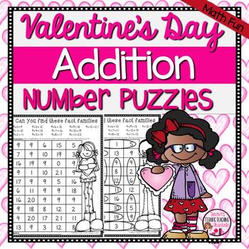 Valentine's Day Addition Math Puzzles