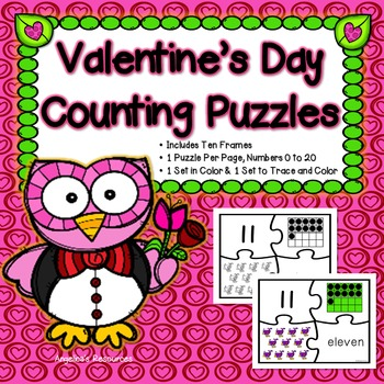 Number Sense 0-20 : Valentine's Day Number Puzzles