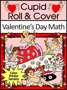 Valentine's Day Math Activities: Cupid Valentine's Day Roll & Cover Activity