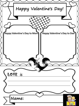Valentines - Valentine's Day Poster Activity- color - black and white