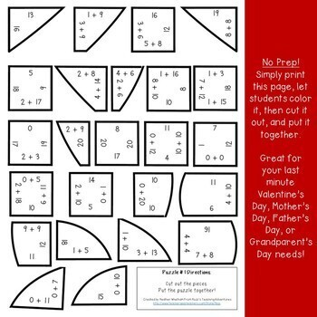 Valentine's Day Math Centers: Addition Heart Puzzles (or Grandparents Day Gift)