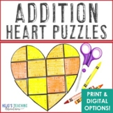 Valentine's Day Math Facts | Addition Heart Puzzles | Vale