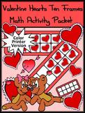 Valentine's Day Math Activity: Valentine Hearts Valentine's Day Ten Frames-Color