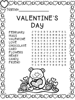Free Valentine's Day Word Search