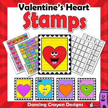 Valentine's Day Clip Art   Heart Stamps for Classroom Mail