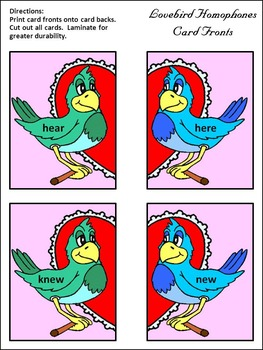 Valentine's Day Activities: Lovebird Homophones Language Arts Activity