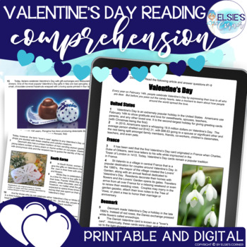 Valentine's Day Reading Passage with Comprehension Assessment and Craft