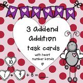 3 Addend Addition with Valentine number bonds