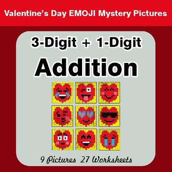 3-Digit + 1-Digit Addition - Color-By-Number Valentine's Math Mystery Pictures