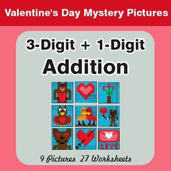 Valentine's Day: 3-Digit + 1-Digit Addition - Color-By-Number Math Mystery Pictures