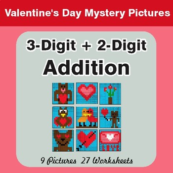 3-Digit + 2-Digit Addition - Color-By-Number Valentine's Math Mystery Pictures