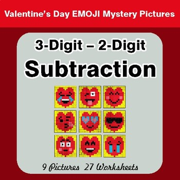 Valentine's Day: 3-Digit - 2-Digit Subtraction - Math Mystery Pictures