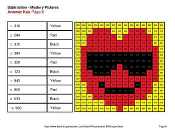 3-Digit - 2-Digit Subtraction - Valentine's Math Mystery Pictures