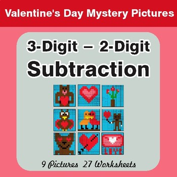 3-Digit - 2-Digit Subtraction - Valentine's Math Mystery Pictures