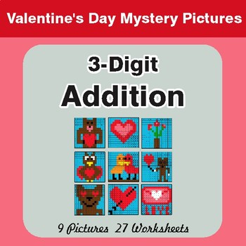 3-Digit Addition - Color-By-Number Valentine's Math Mystery Pictures