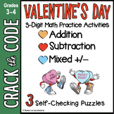 Valentine's Day Math Activity : 3-Digit Addition & Subtraction - Crack the Code