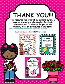 Valentine's Day 3 Digit Addition Worksheets With Regrouping