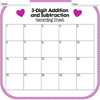Valentine's Day 3-Digit Addition and Subtraction Task Cards
