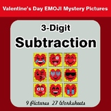 3-Digit Subtraction -  Valentine's Math Mystery Pictures