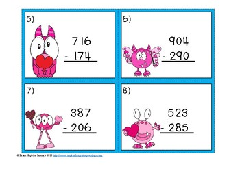 Valentine's Day 3 Digit Subtraction Regrouping Task Cards