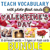 Valentine's Day 30 Flash Cards [3 different types] BUNDLE