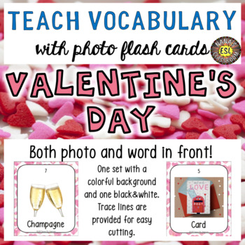Valentine's Day Photo Flash Cards Photo and Word in front