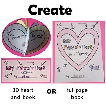 3D Heart Craft & Write My Favorites Opinion Writing Book