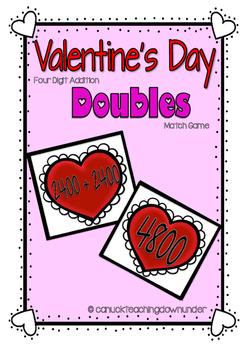 Valentine's Day 4 Digit Addition Math Centers
