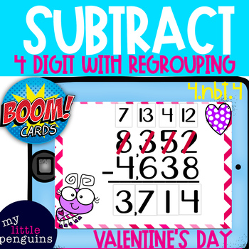 Boom Cards: Valentine's Day 4 Digit Subtraction with regrouping (4.nbt.4)