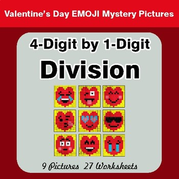 4-Digit by 1-Digit Division - Color-By-Number Valentine's Math Mystery Pictures