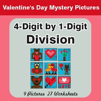 Valentine's Day: 4-Digit by 1-Digit Division - Color-By-Number Mystery Pictures