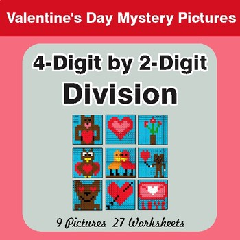 Valentine's Day: 4-Digit by 2-Digit Division - Color-By-Number Math Mystery Pictures