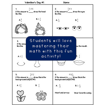 Valentine's Day Math 4th Grade Multiply Fractions