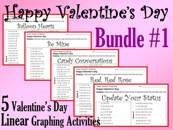 Valentine's Day - 5 Linear Equation Graphing Activities - Bundle #1