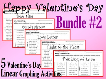 Valentine's Day - 5 Linear Equation Graphing Activities - Bundle #2