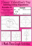 Valentine's Day - Solve 2-Step Eqs. - 5 Math-Then-Graph Activities - Bundle #1